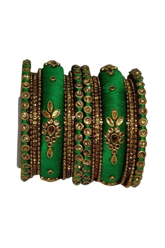 BAN1064-05 Green and Gold Thread and Stone Womens Bangles