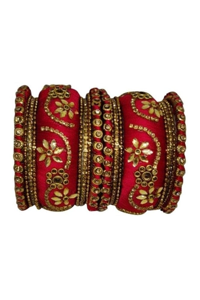 BAN1087-01 Red and Gold Thread and Stone Womens Bangles