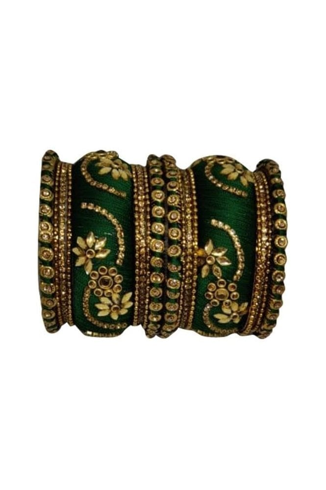 BAN1087-06 Green and Gold Thread and Stone Womens Bangles