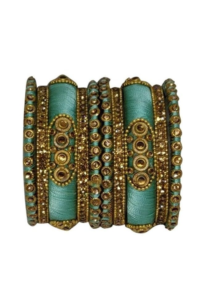 BAN1089-06 Sea Green and Gold Thread and Stone Womens Bangles