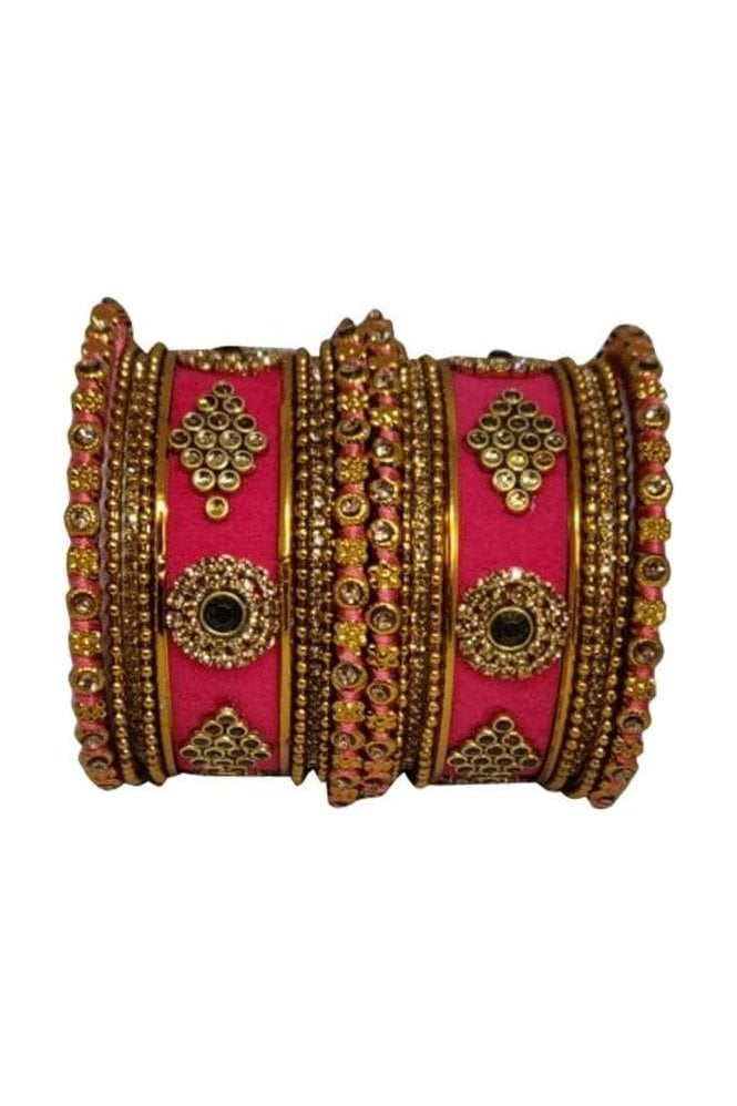 BAN5014-03 Pink and Gold Velvet and Stone Womens Bangles