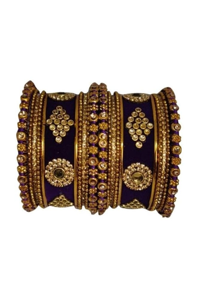 BAN5014-05 Purple  and Gold Velvet and Stone Womens Bangles