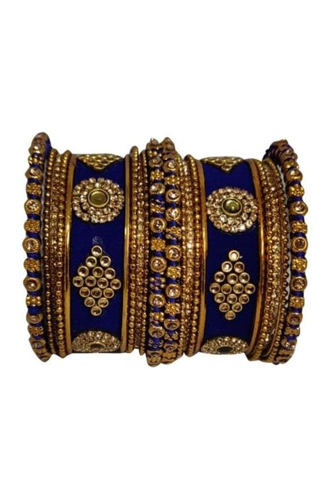 BAN5014-06 Navy Blue and Gold Velvet and Stone Womens Bangles
