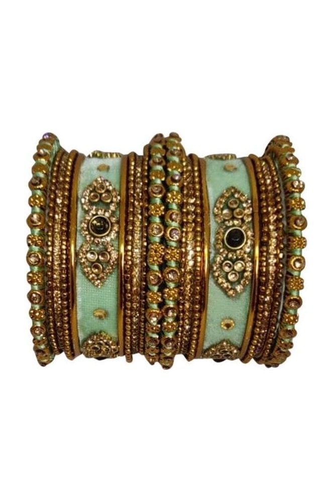 BAN5021-03 Sea Green and Gold Velvet and Stone Womens Bangles