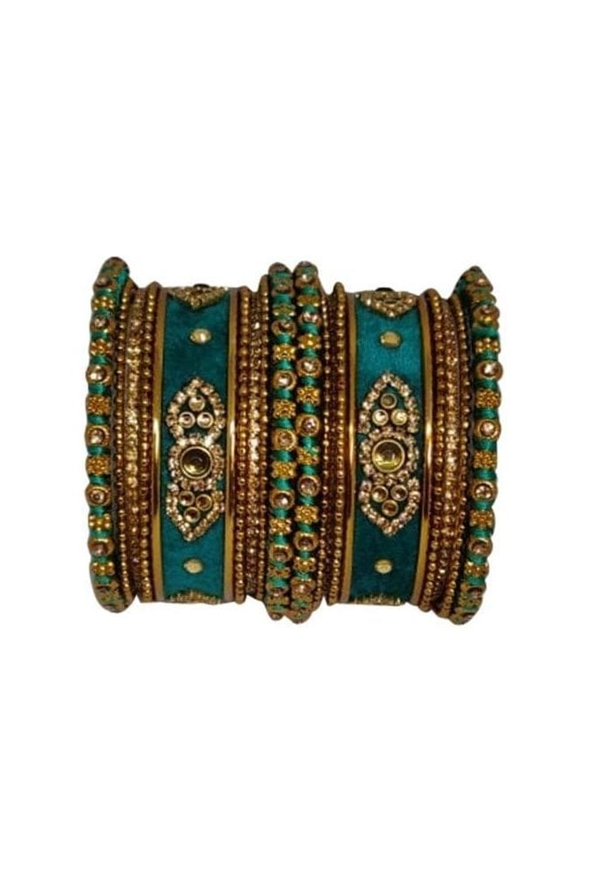 BAN5021-04 Jade Green and Gold Velvet and Stone Womens Bangles