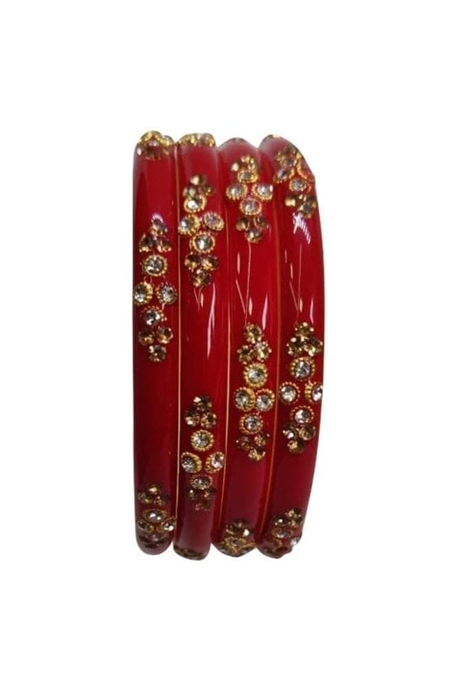 BANANA-05 Red and Gold Stone and Bead Womens Bangles