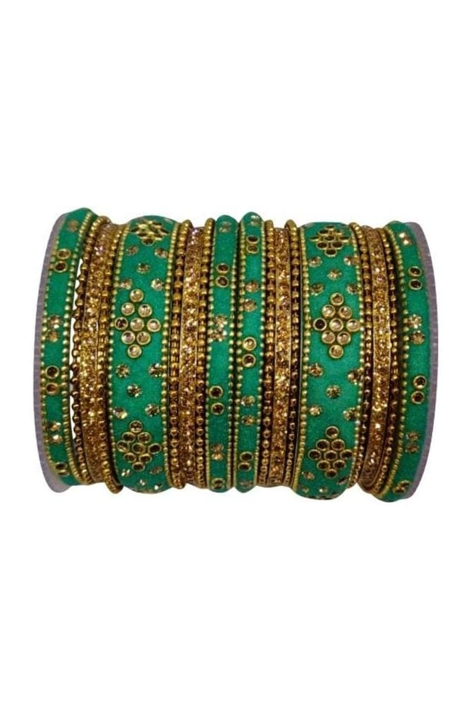 BANAS04-01 Jade and Gold Velvet and Stone Womens Bangles
