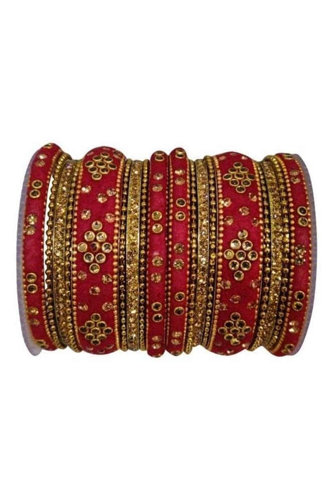 BANAS04-02 Maroon and Gold Velvet and Stone Womens Bangles