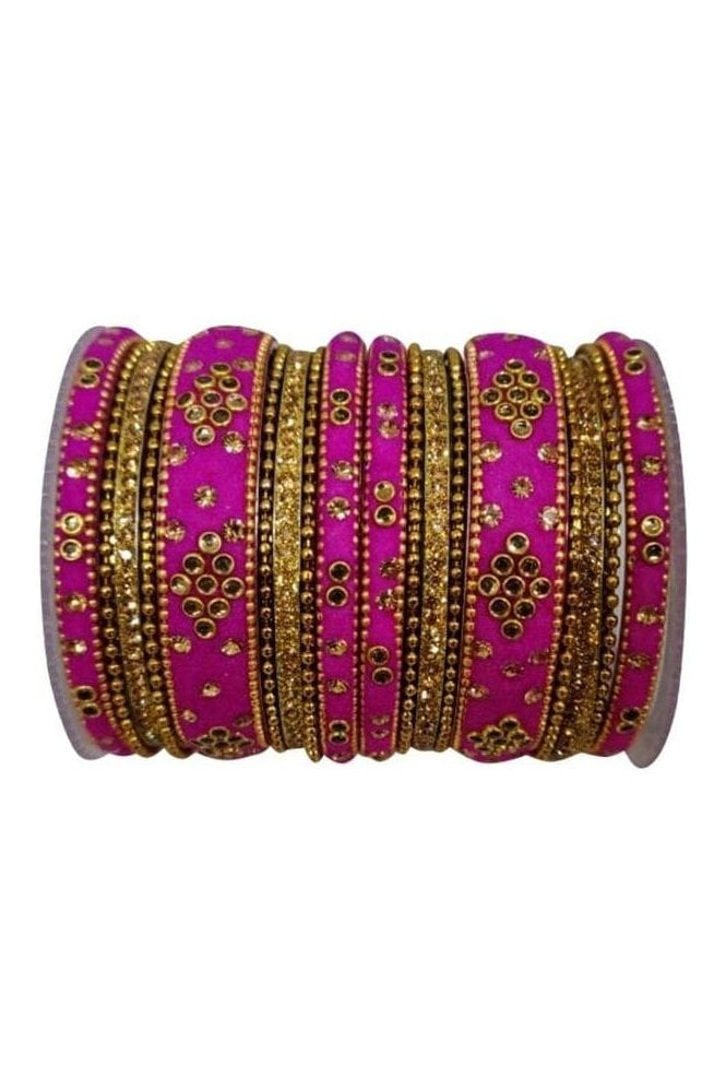 BANAS04-04 Pink and Gold Velvet and Stone Womens Bangles