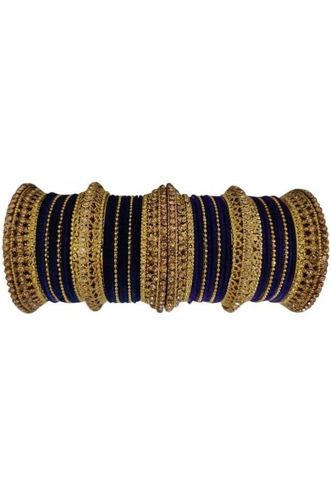 BANAS12-01 Navy Blue and Gold Velvet and Stone Womens Bangles