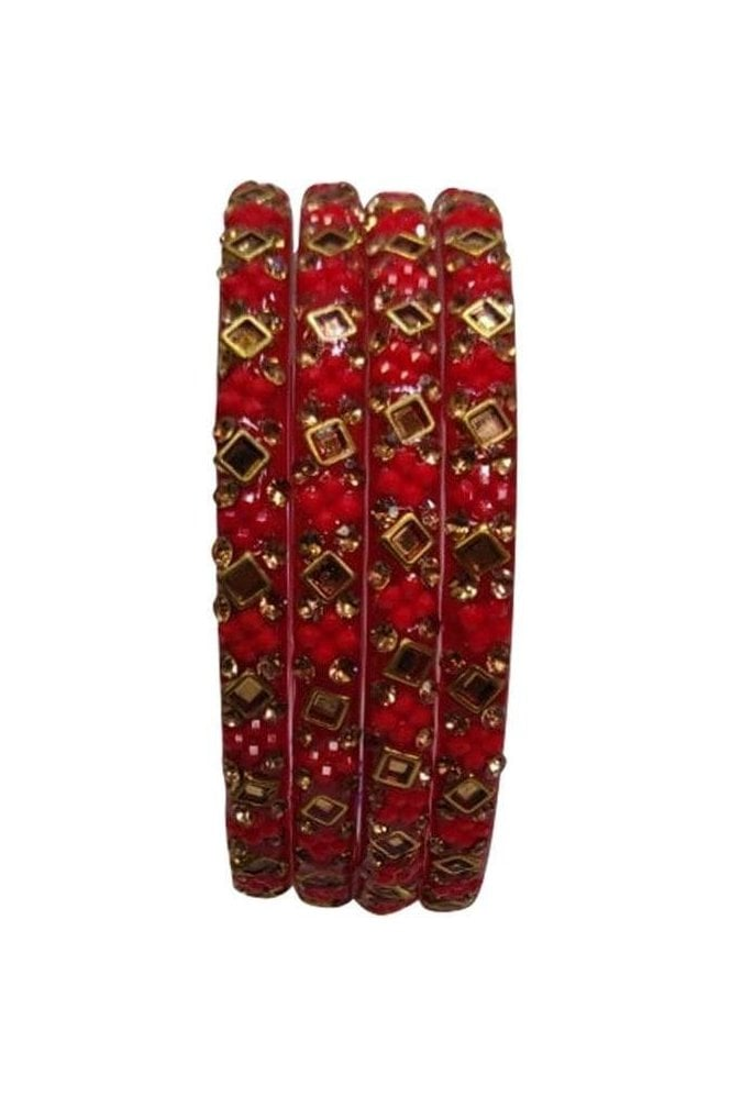 BANCIRC-01 Red and Gold Stone and Bead Womens Bangles