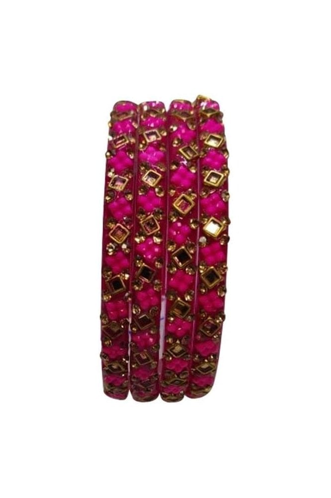 BANCIRC-02 Pink and Gold Stone and Bead Womens Bangles