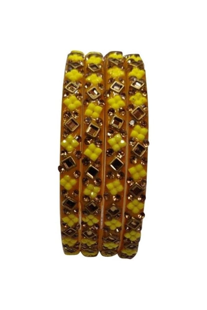 BANCIRC-06 Yellow and Gold Stone and Bead Womens Bangles