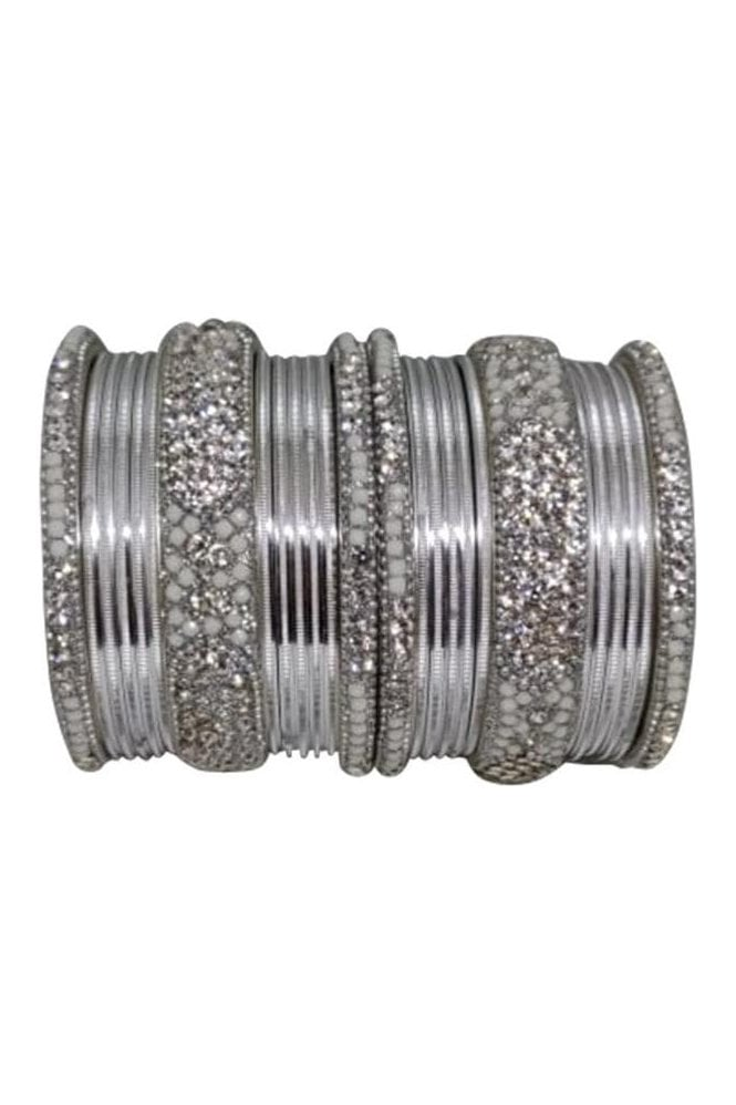 BANM40-03 Silver and Grey Stone and Bead Womens Bangles