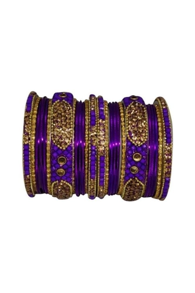 BANM40-05 Purple and Gold Stone and Bead Womens Bangles
