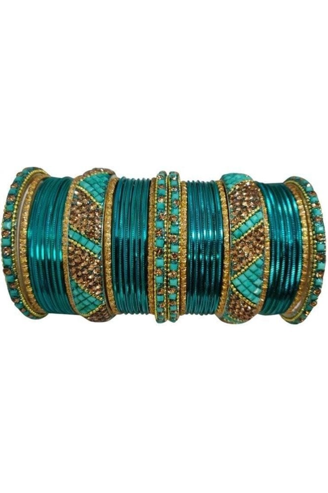 BANM63-02 Turquoise Blue and Gold Stone and Bead Womens Bangles