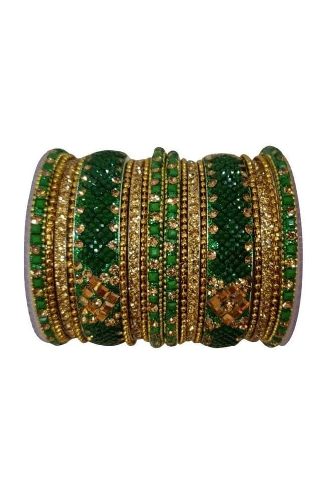 BANAS05-01 Green and Antique Gold Stone and Bead Womens Bangles