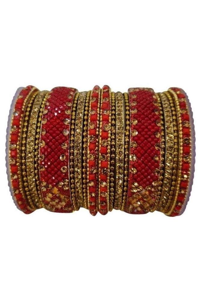BANAS05-05 Red and Antique Gold Stone and Bead Womens Bangles