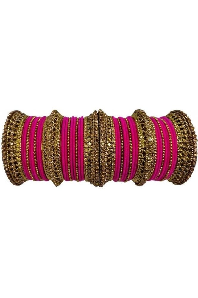 BANAS12-02 Pink and Gold Velvet and Stone Womens Bangles