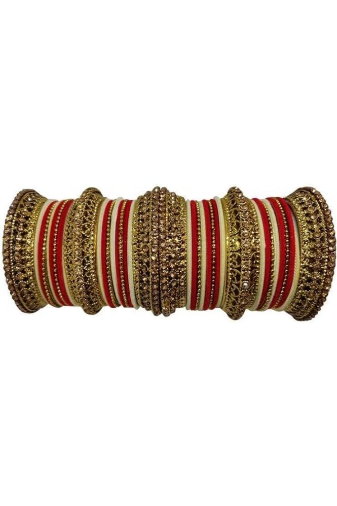 BANAS12-05 Red, Cream and Gold Velvet and Stone Womens Bangles