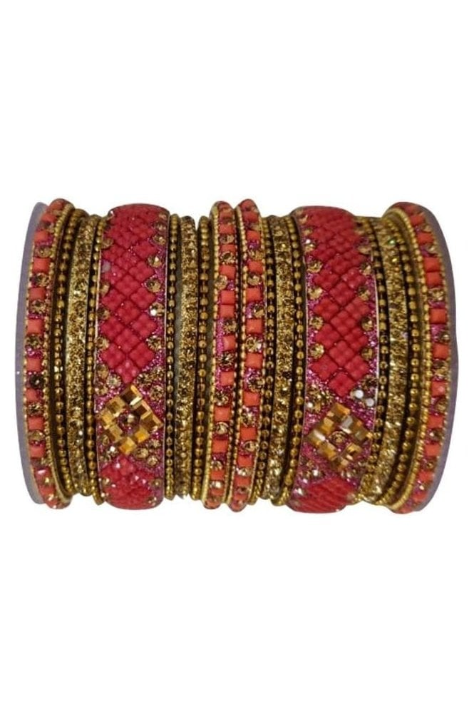 BANAS05-06 Pink and Antique Gold Stone and Bead Womens Bangles