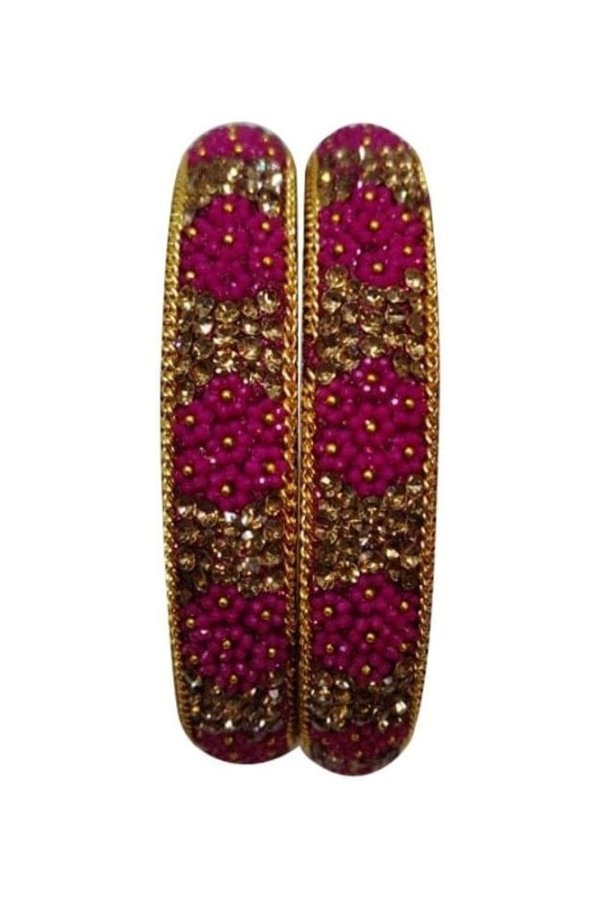 BAN50-05 Pink and Antique Gold Floral and Bead Womens Bangles