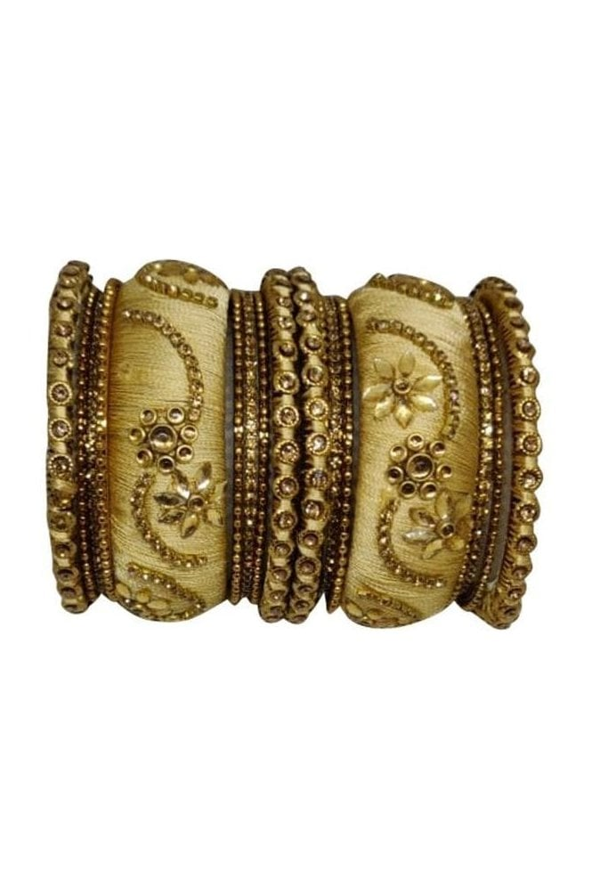 BAN1087-04 Cream  and Gold Thread and Stone Womens Bangles