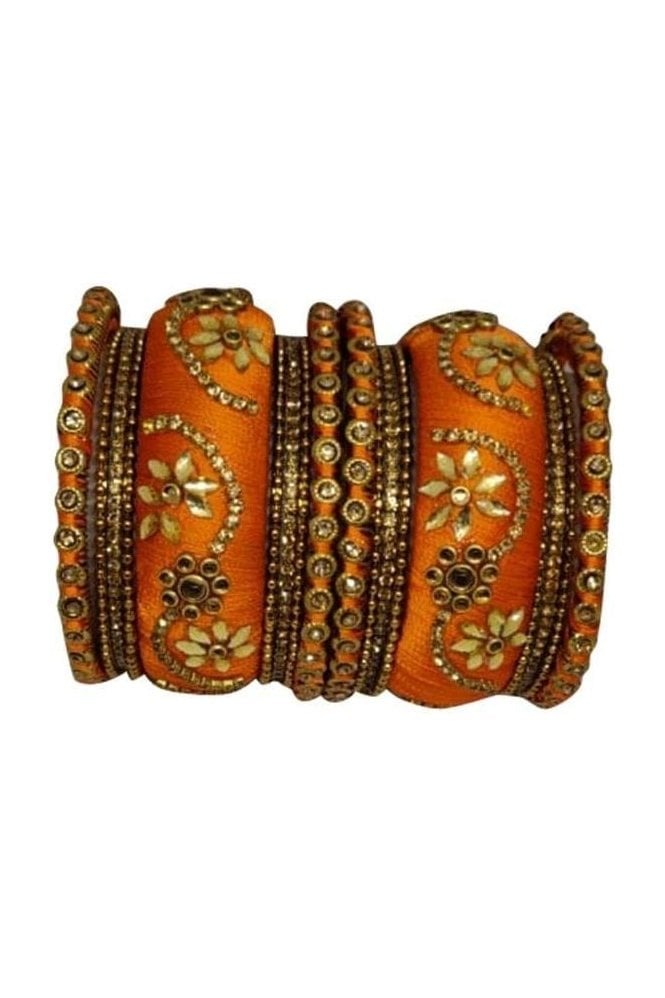 BAN1087-05 Orange  and Gold Thread and Stone Womens Bangles