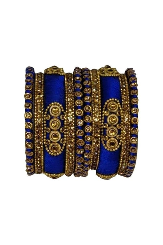 BAN1089-03 Blue and Gold Thread and Stone Womens Bangles