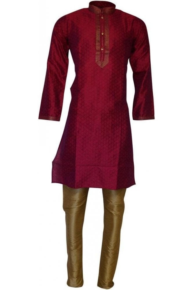 MPK19209 Pink and Gold Men's Kurta Pyjama