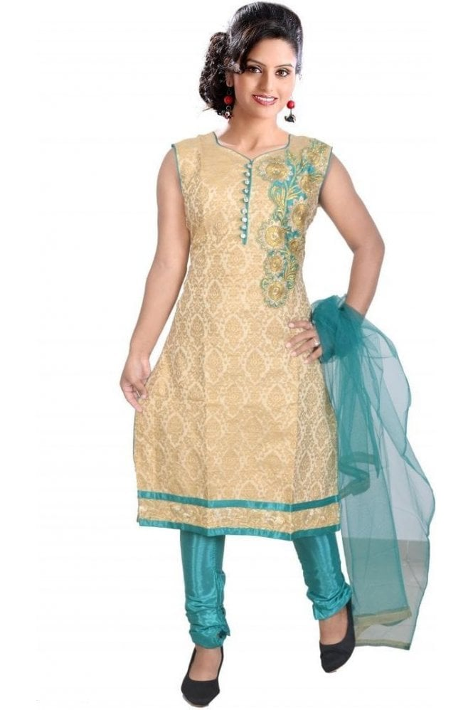 WCS19333 Gold and Green Designer Churidar Salwar Kameez