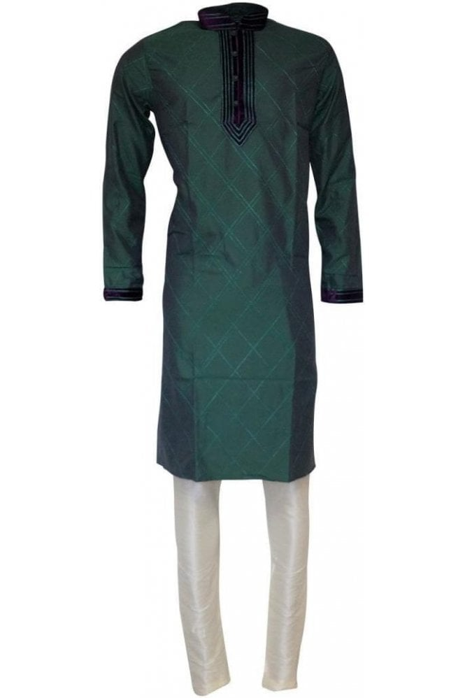MPK19205 Green and Purple Men's Kurta Pyjama