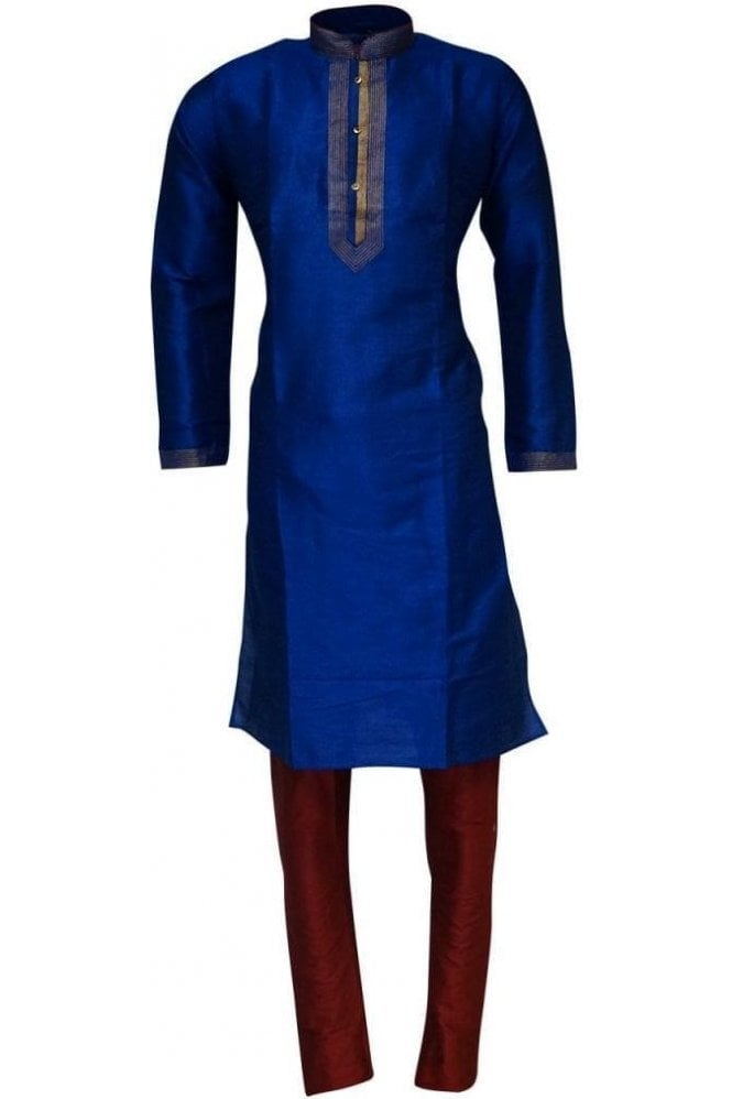 MPK19232 Blue and Red Men's Kurta Pyjama