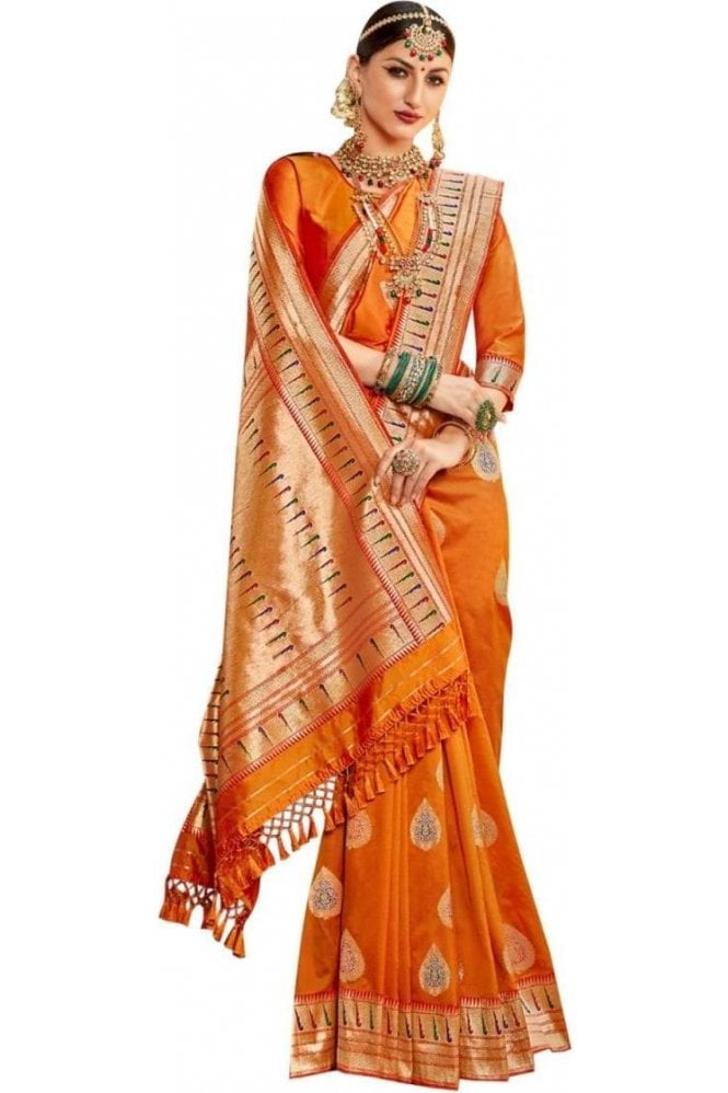 BEN19042-222A Mustard and Gold Benarasi Art Silk Saree