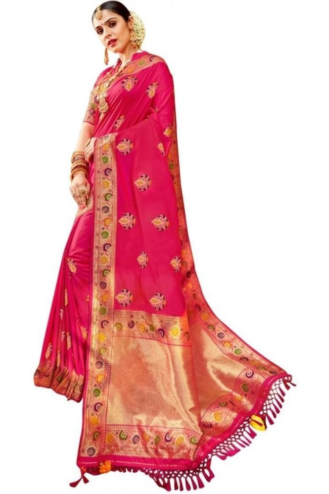 BEN19067-231B Magenta Pink and Gold Benarasi Art Silk Saree
