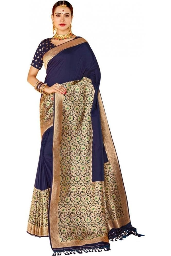 BEN19075-232D Navy Blue and Gold Benarasi Art Silk Saree