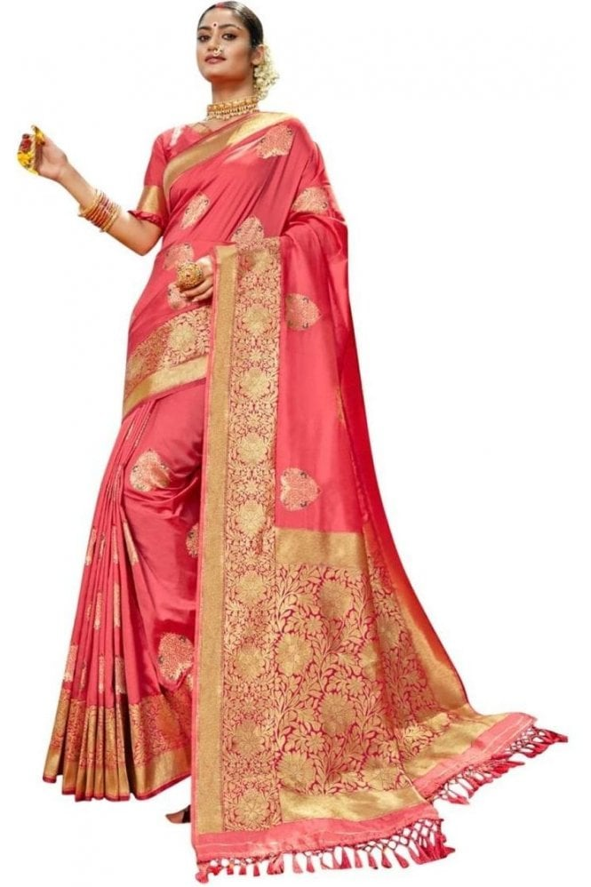 BEN19090-235A Coral Pink and Magenta Benarasi Art Silk Saree