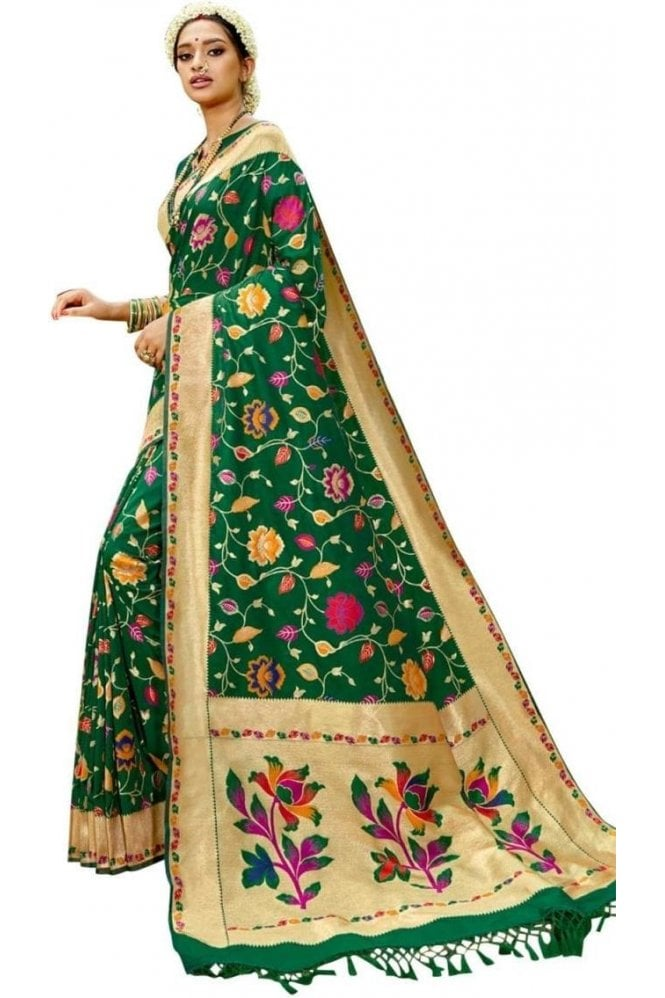 BEN19102-237A Green and Gold Benarasi Art Silk Saree