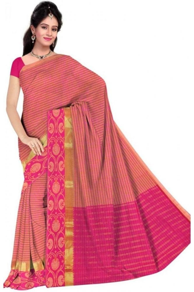 PCS19325  Pink and Orange Poly Cotton Saree- With Unstitched Blouse Piece