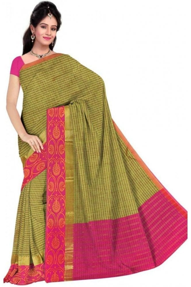 PCS19326  Green and Pink Poly Cotton Saree- With Unstitched Blouse Piece