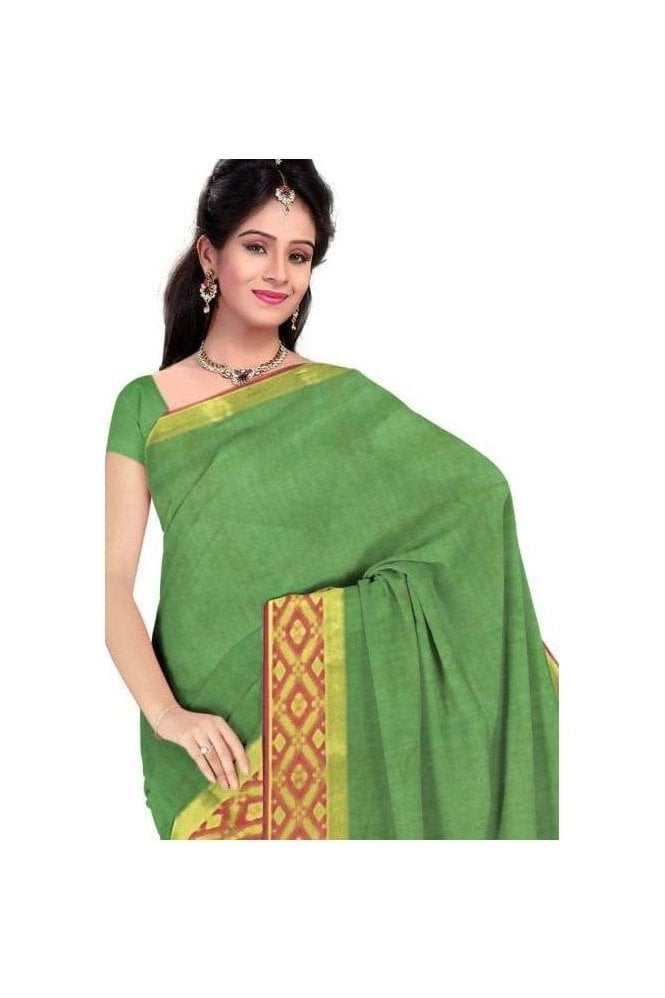 PCS19331  Green and Pink Poly Cotton Saree- With Unstitched Blouse Piece