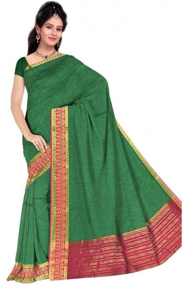 PCS19332  Green and Pink Poly Cotton Saree- With Unstitched Blouse Piece