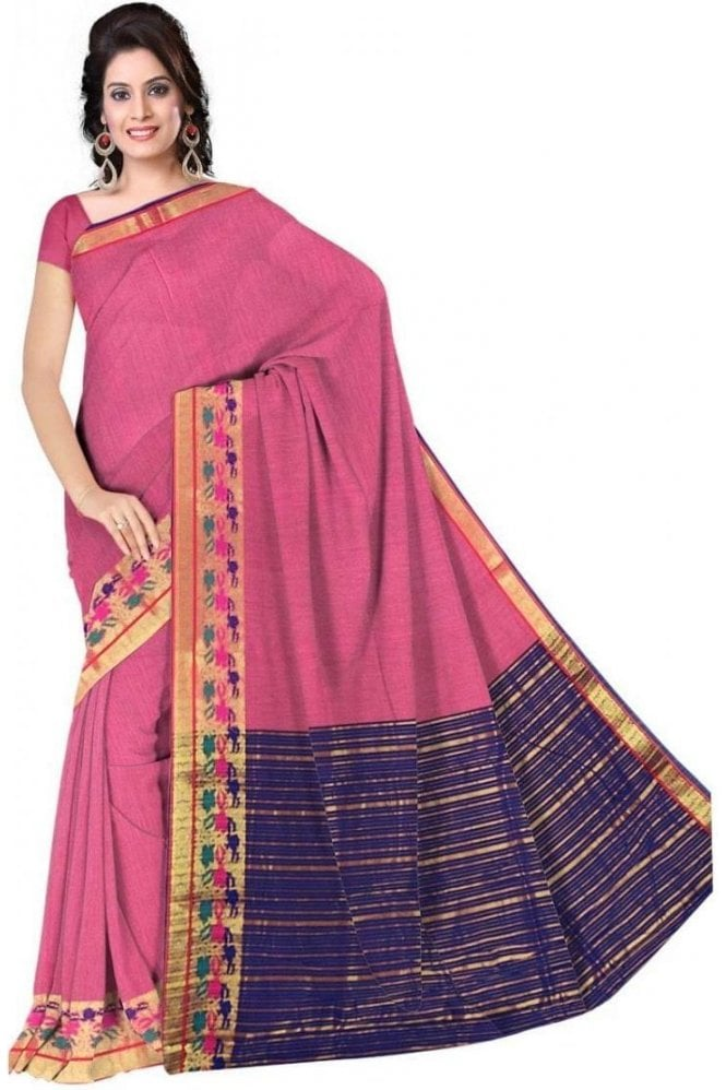 Glamourous Pink and  Blue Cotton Silk Saree with Matching Unstitched Blouse