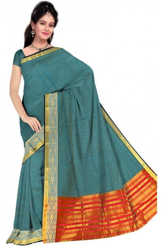 PCS19367  Blue  and Red Poly Cotton Saree- With Unstitched Blouse Piece