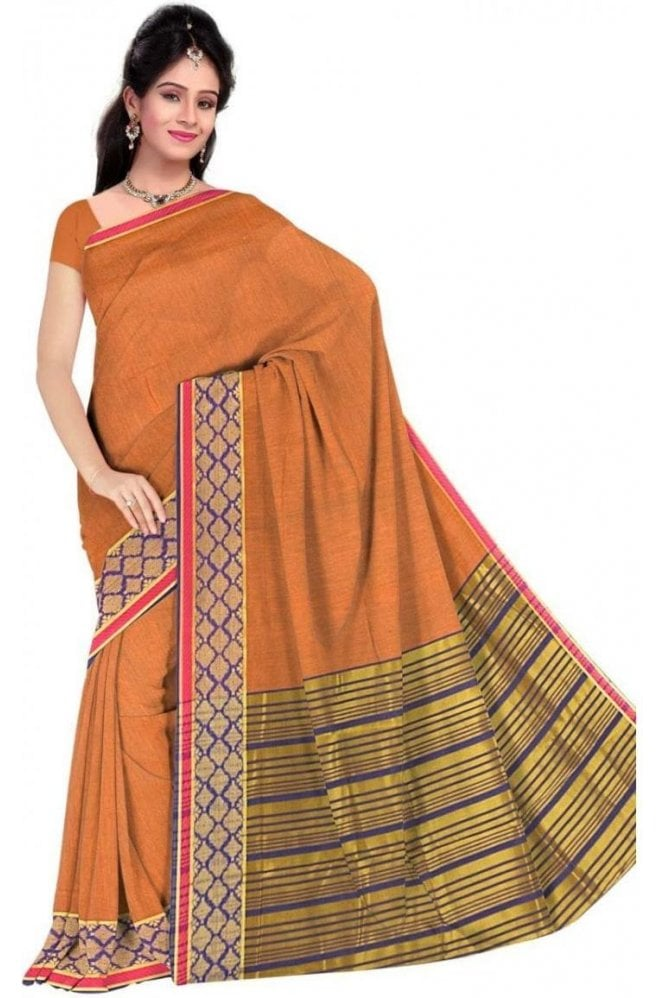 PCS19375  Mustard and Purple Poly Cotton Saree- With Unstitched Blouse Piece