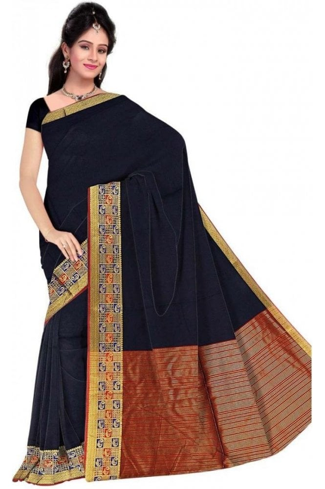 PCS19376  Navy Blue and Red Poly Cotton Saree- With Unstitched Blouse Piece