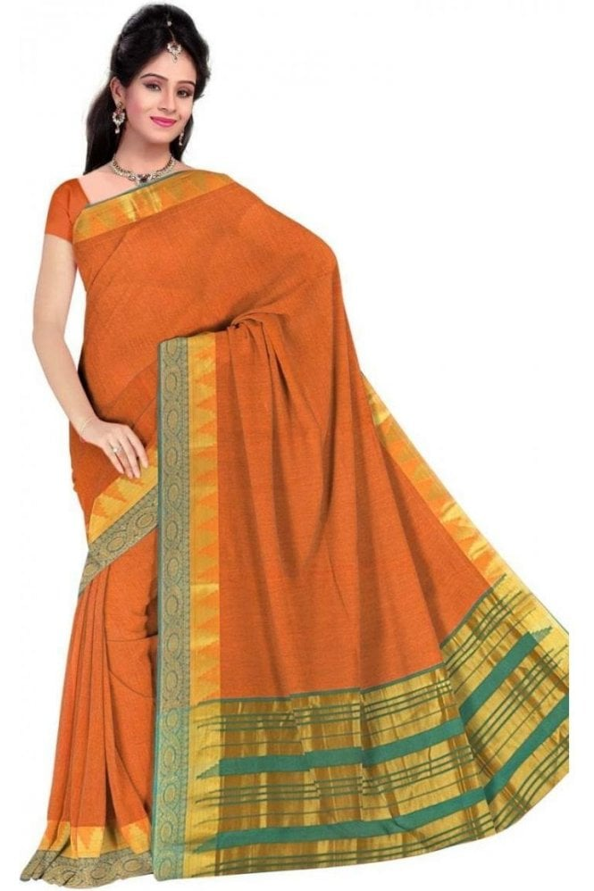 PCS19317  Orange and Green Poly Cotton Saree- With Unstitched Blouse Piece