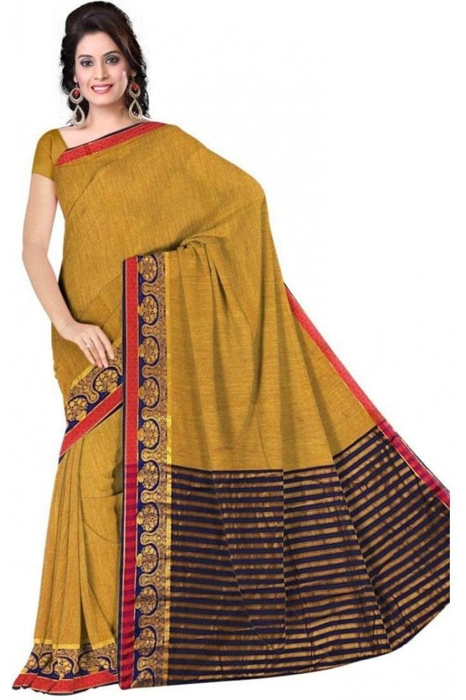 PCS19309  Mustard and Blue Poly Cotton Saree- With Unstitched Blouse Piece