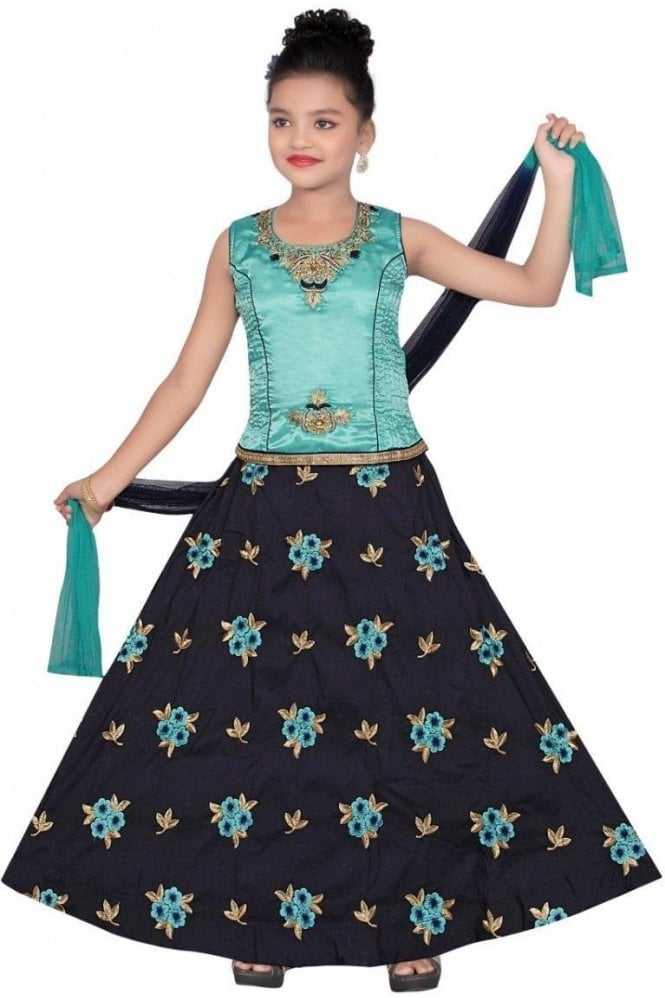 GLC19085 Blue and Navy Blue Girl's Lengha Choli