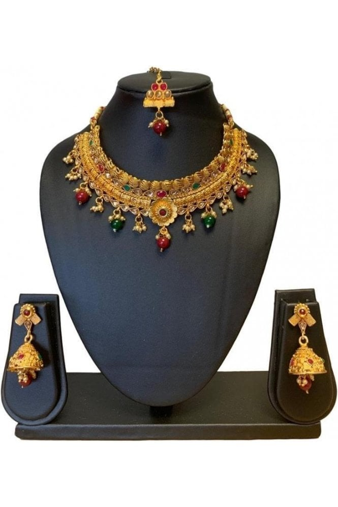 NLS19002 Red, Green and Antique Gold Mena Necklace Set with Tikka